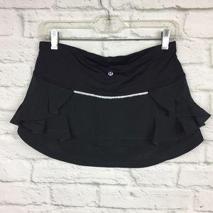 Lululemon Size 6 Presta Skirt Black Ruffle Cycling